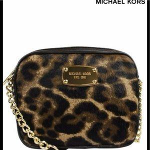 NWT MichaelKors large dome Cindy leopard crossbody